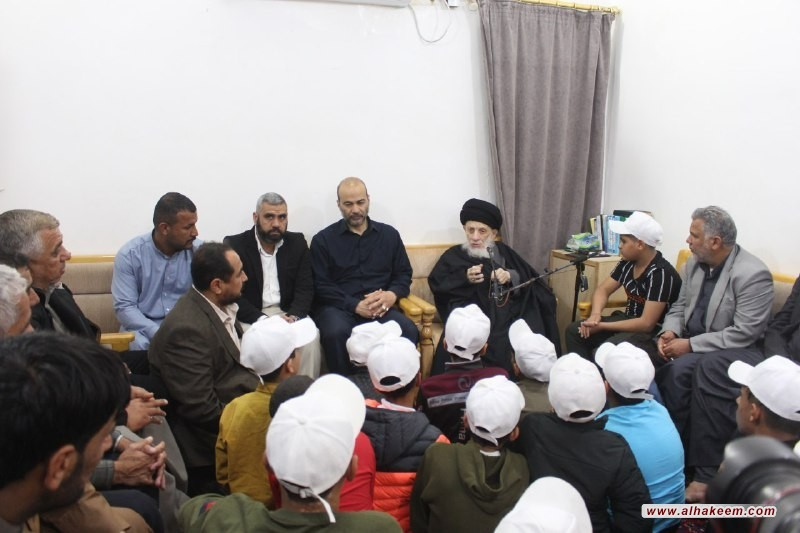 His Eminence Al-Sayyid Al-Hakeem meets a group of orphaned children of the martyrs of the Popular Mobilization Forces