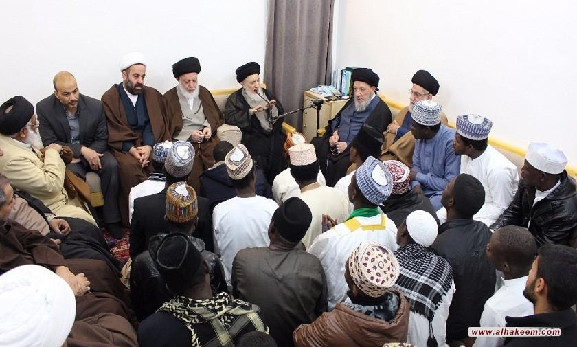 سماحة المرجع الكبير السيد الحكيم (مدّ ظلّه) يدعو مبلغي الحوزة إلى الصبر والتحمل في تحصيل العلوم الدينية لاستثمارها في خدمة مجتمعاتهم التي تغربوا عنها