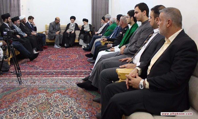 سماحة المرجع الديني الكبير السيد الحكيم (مدّ ظله) يستقبل السفير الفرنسي الجديد في بغداد، ويشير إلى دور الحوزة الروحي بترسيخ المفاهيم الدينية والإنسانية الصحيحة لخدمة المجتمع