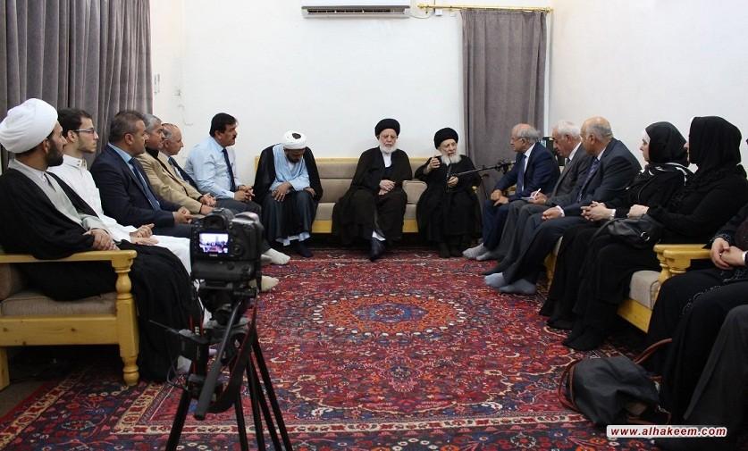 سماحة المرجع الكبير السيد الحكيم (مدّ ظله) يستقبل وفدا من أساتذة جامعات ورجال أعمال من كردستان؛ ويحث العراقيين على التعايش والتكيّف مع بعضهم بالاحترام المتبادل