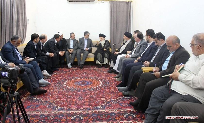 استقبال ایت الله حکیم (مدظله) از وزیر فرهنگ و ارشاد اسلامی جمهوری اسلامی ایران  وهیئت همراه
