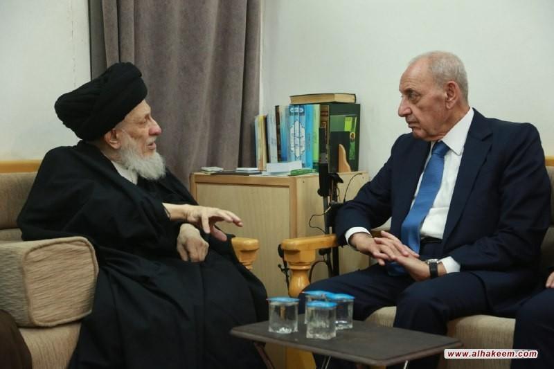 سماحة المرجع الديني الكبير السيد الحكيم (مدّ ظله) يستقبل رئيس مجلس النواب اللبناني السيد نبيه بري والوفد المرافق له