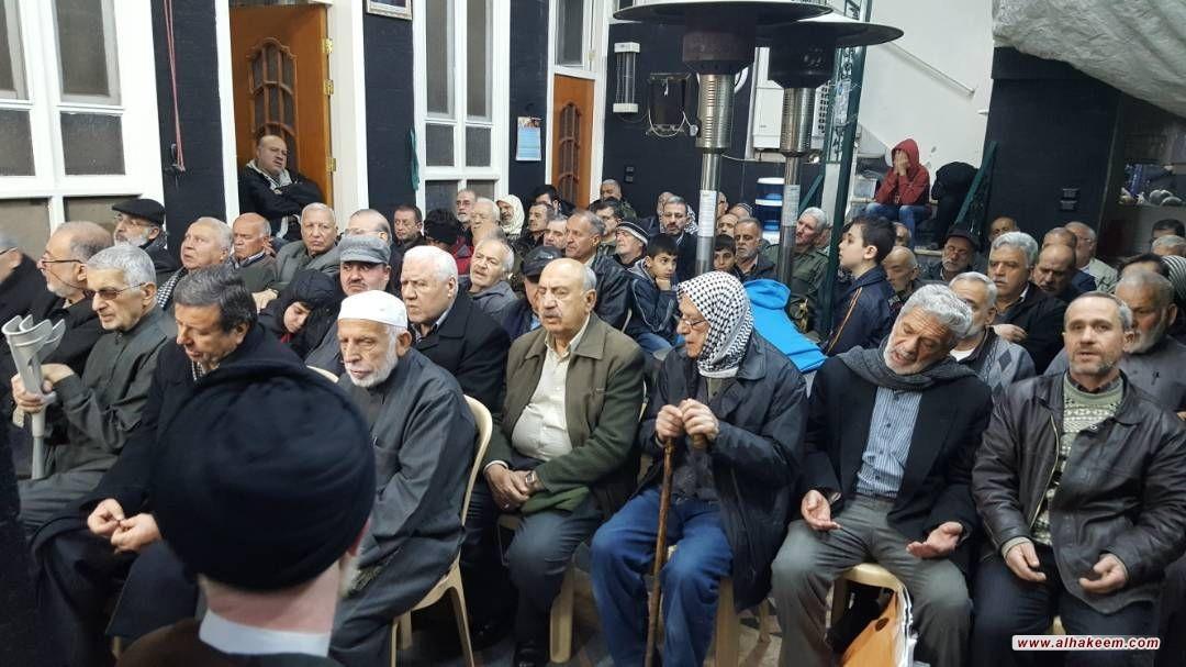 الحشود المؤمنة في حي الامين في دمشق تحي وفاة أم البنين (عليها السلام) في مكتب سماحة المرجع الديني الكبير السيد الحكيم (مدّ ظله)