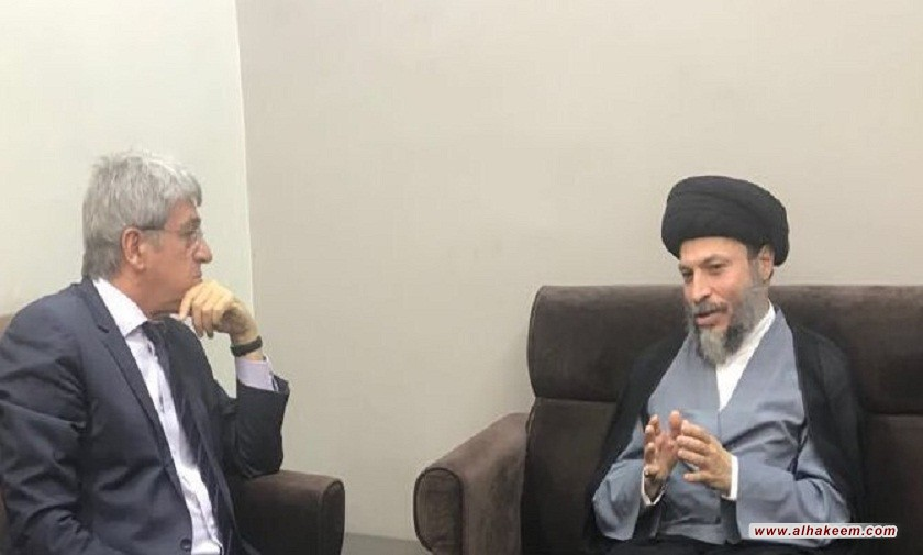 نشست آیت الله سید ریاض حکیم با سفیر فرانسه
