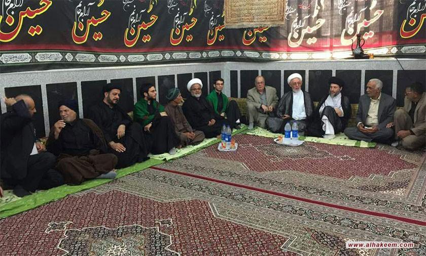 آية الله السيد رياض الحكيم (دام عزه) يزور حسينية الزهراء (عليها السلام) في مدينة عبادان