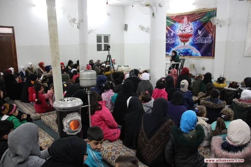 بمناسبة ولادة الزهراء (عليها السلام)، اقامة احتفال ديني في مكتب سماحة المرجع الديني الكبير السيد الحكيم (مد ظله) في سوريا، لتوزيع الحجاب على الفتيات المكلفات، والهدايا على الأيتام وعوائل المفقودين