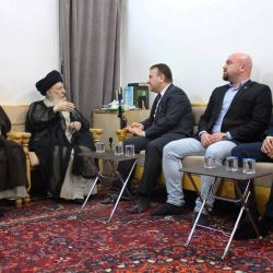 His Eminence, Grand Ayatollah al-Hakeem, receives the Lebanese Ambassador to Iraq