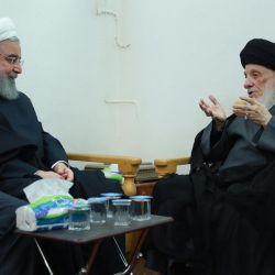 Grand Ayatollah Sayyid al-Hakeem meets with the President of the Islamic Republic of Iran, Shaykh Hasan al-Rouhani.